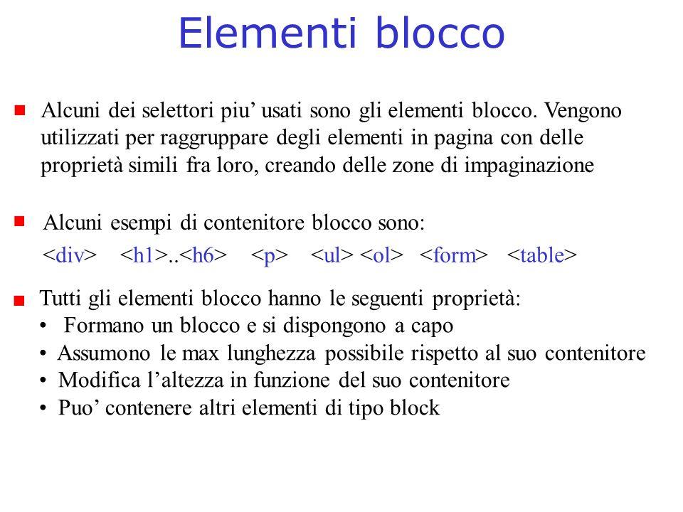 Elementi blocco Alcuni dei selettori piu usati sono gli elementi blocco. Vengono utilizzati per raggruppare degli elementi in pagina con delle proprie