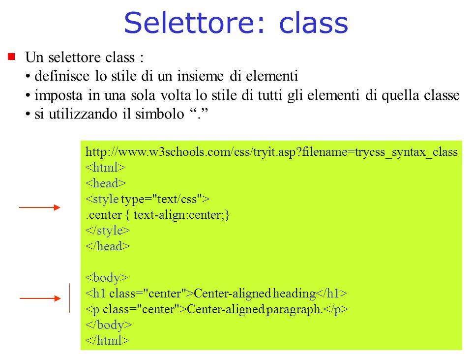 Selettore: class Un selettore class : definisce lo stile di un insieme di elementi imposta in una sola volta lo stile di tutti gli elementi di quella