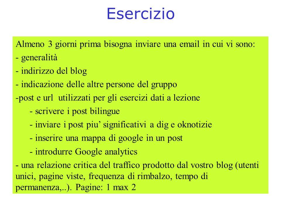 Esercizio Almeno 3 giorni prima bisogna inviare una email in cui vi sono: - generalità - indirizzo del blog - indicazione delle altre persone del grup