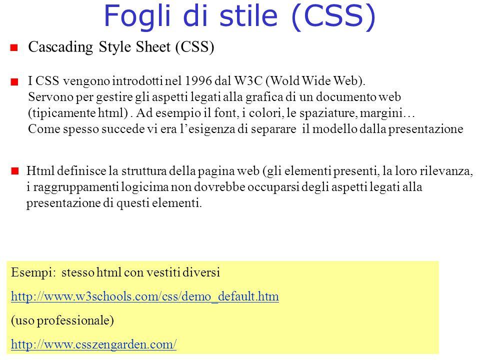Fogli di stile (CSS) Cascading Style Sheet (CSS) I CSS vengono introdotti nel 1996 dal W3C (Wold Wide Web). Servono per gestire gli aspetti legati all
