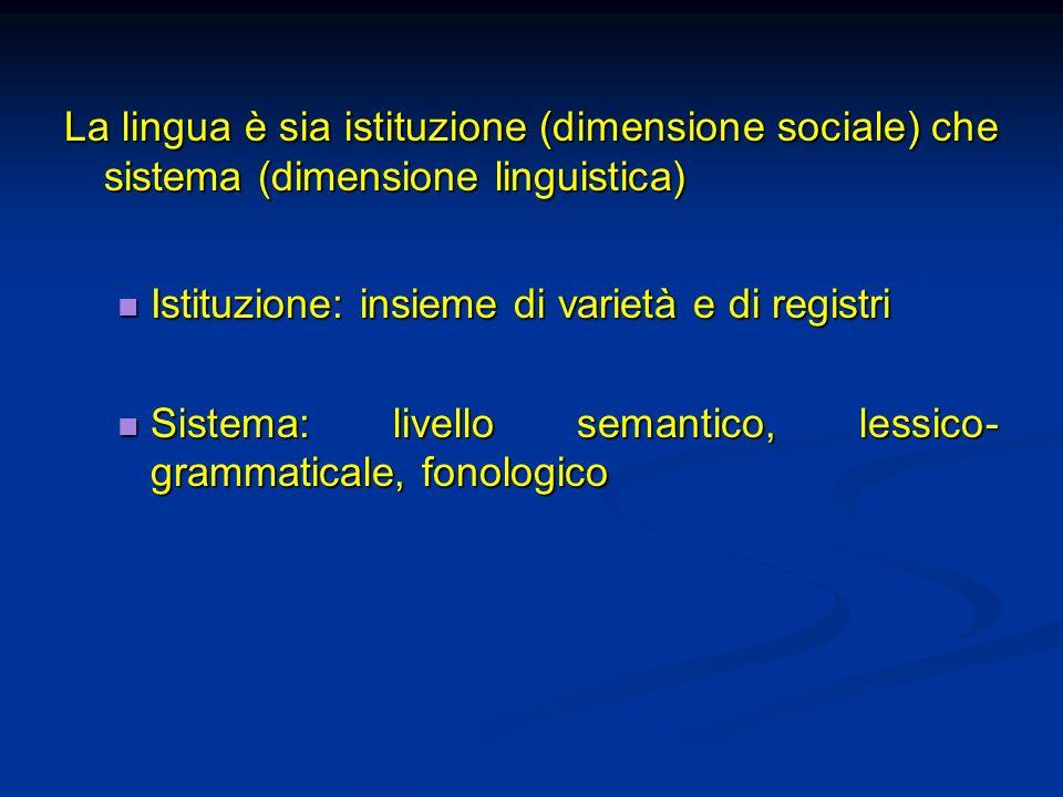 La lingua è sia istituzione (dimensione sociale) che sistema (dimensione linguistica) Istituzione: insieme di varietà e di registri Istituzione: insie