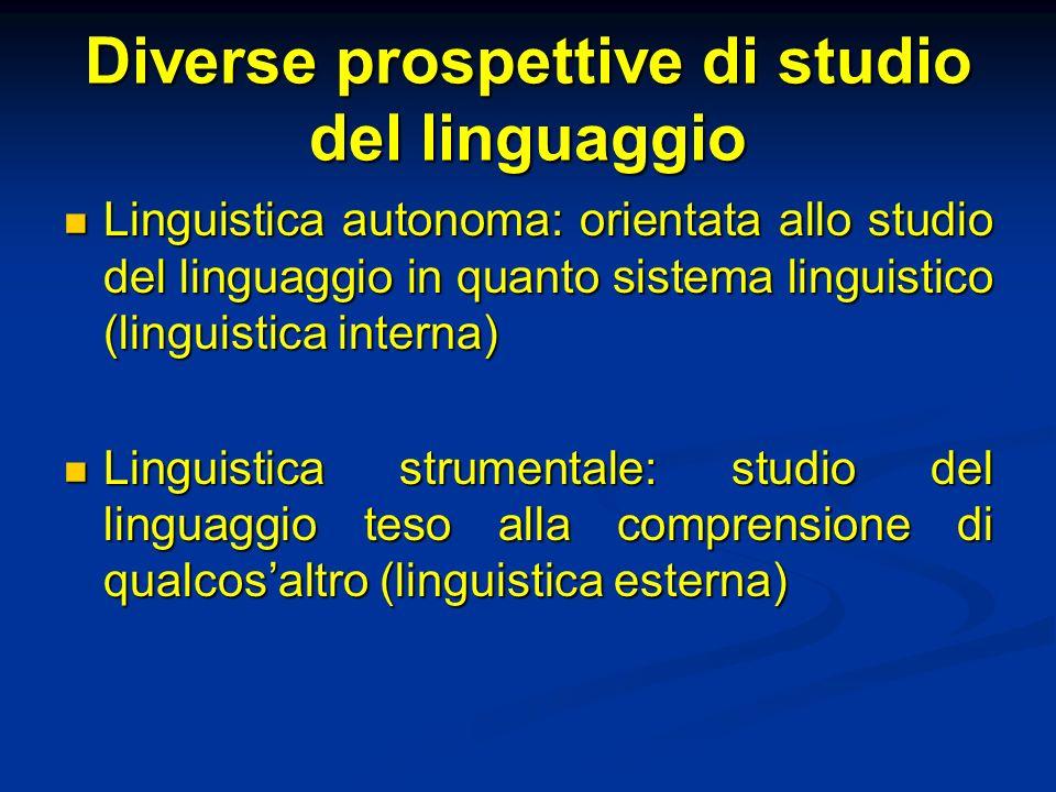 Diverse prospettive di studio del linguaggio Linguistica autonoma: orientata allo studio del linguaggio in quanto sistema linguistico (linguistica int