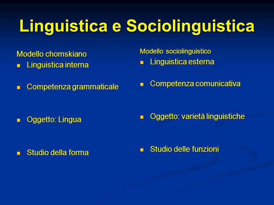 Linguistica e Sociolinguistica Modello chomskiano Linguistica interna Linguistica interna Competenza grammaticale Competenza grammaticale Oggetto: Lin