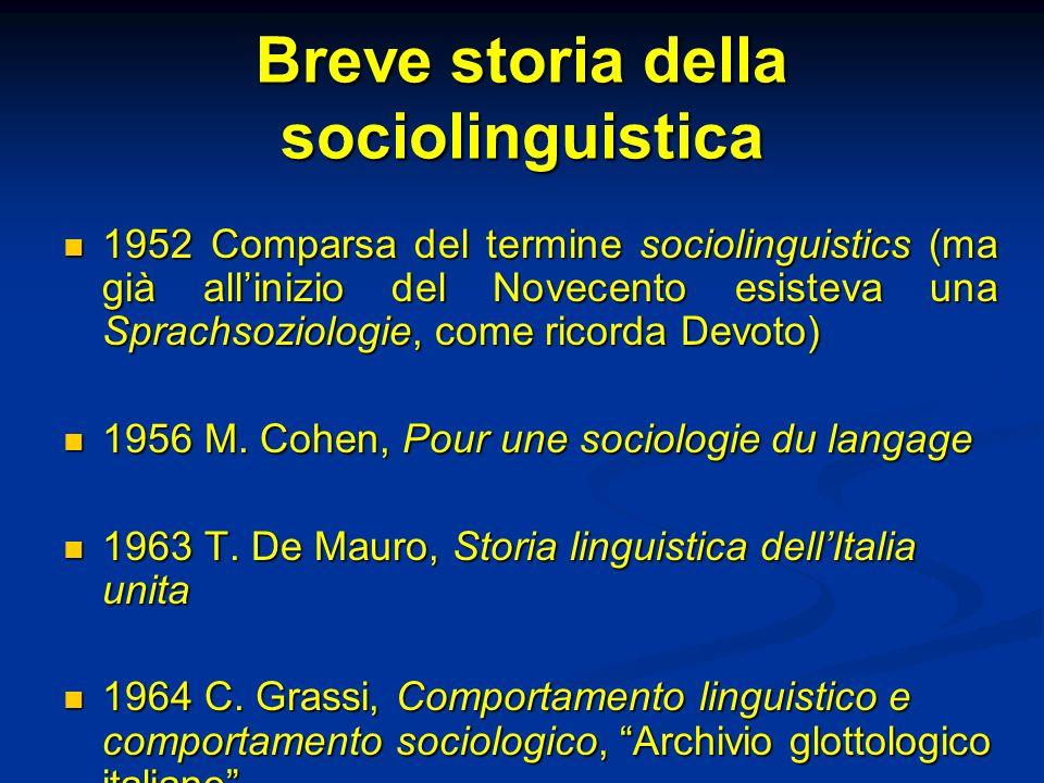 Breve storia della sociolinguistica 1952 Comparsa del termine sociolinguistics (ma già allinizio del Novecento esisteva una Sprachsoziologie, come ric