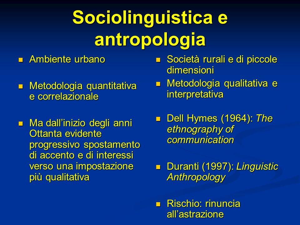 Sociolinguistica e antropologia Ambiente urbano Ambiente urbano Metodologia quantitativa e correlazionale Metodologia quantitativa e correlazionale Ma