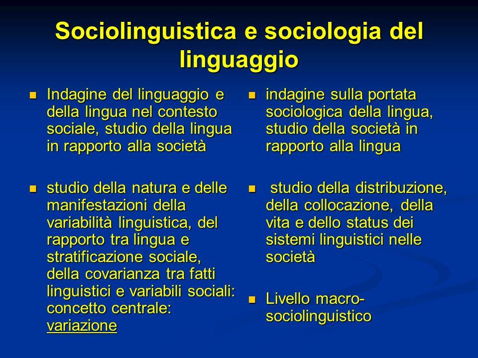 Sociolinguistica e sociologia del linguaggio Indagine del linguaggio e della lingua nel contesto sociale, studio della lingua in rapporto alla società