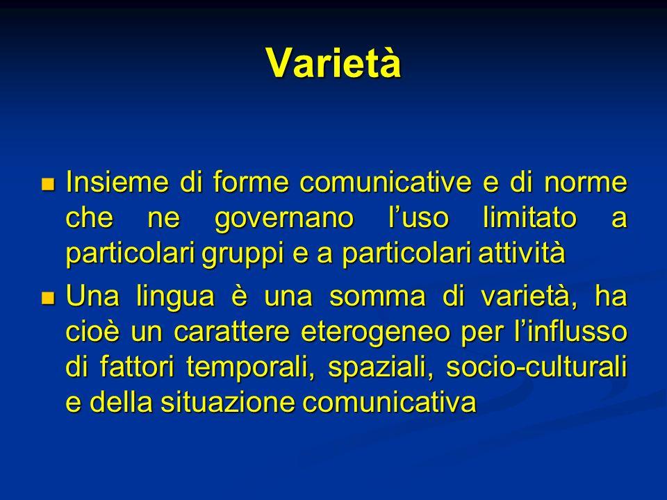 Varietà Insieme di forme comunicative e di norme che ne governano luso limitato a particolari gruppi e a particolari attività Insieme di forme comunic