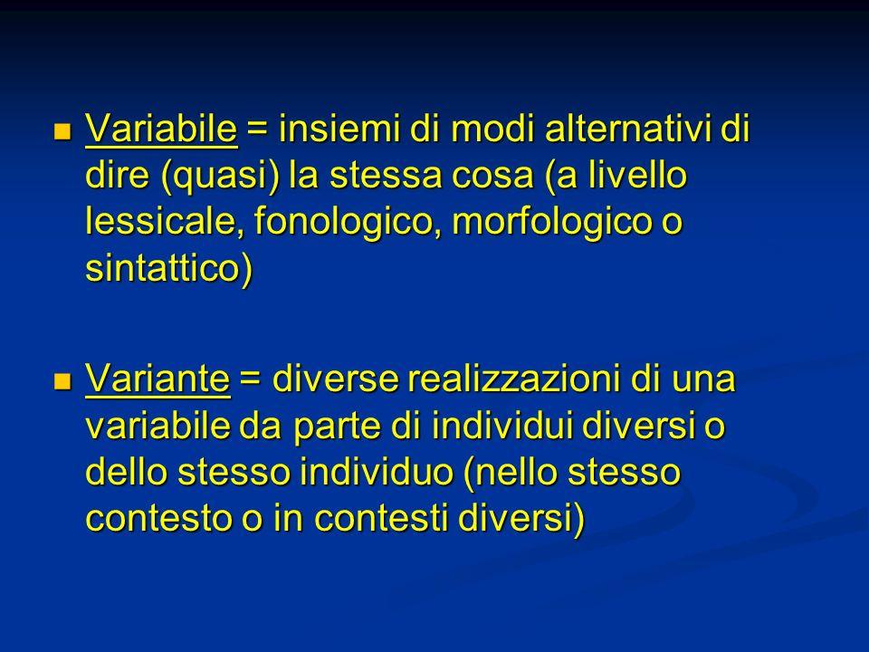 Variabile = insiemi di modi alternativi di dire (quasi) la stessa cosa (a livello lessicale, fonologico, morfologico o sintattico) Variabile = insiemi