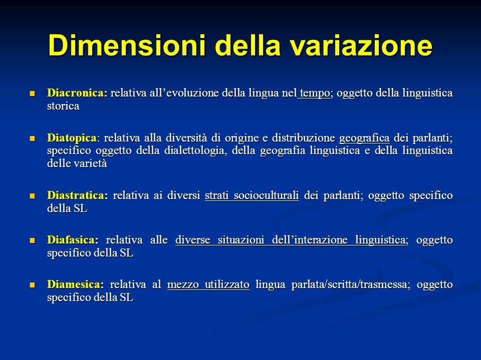 Dimensioni della variazione Diacronica: relativa allevoluzione della lingua nel tempo; oggetto della linguistica storica Diacronica: relativa allevolu