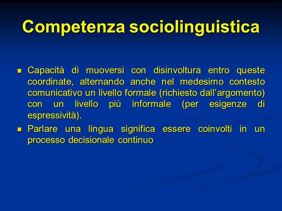Competenza sociolinguistica Capacità di muoversi con disinvoltura entro queste coordinate, alternando anche nel medesimo contesto comunicativo un live