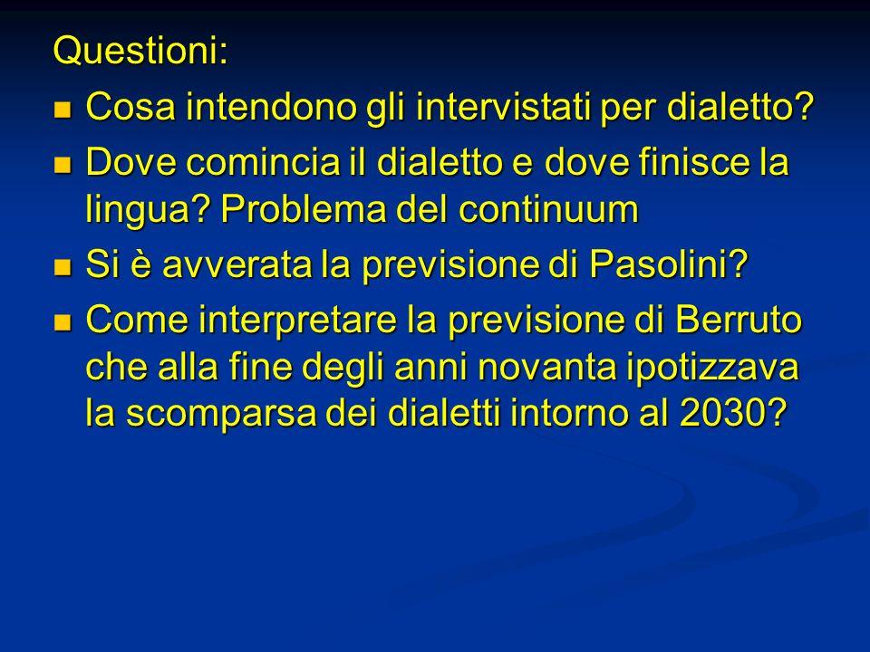 Questioni: Cosa intendono gli intervistati per dialetto? Cosa intendono gli intervistati per dialetto? Dove comincia il dialetto e dove finisce la lin