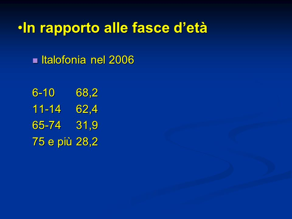 In rapporto alle fasce detàIn rapporto alle fasce detà Italofonia nel 2006 Italofonia nel 2006 6-10 68,2 11-14 62,4 65-7431,9 75 e più28,2