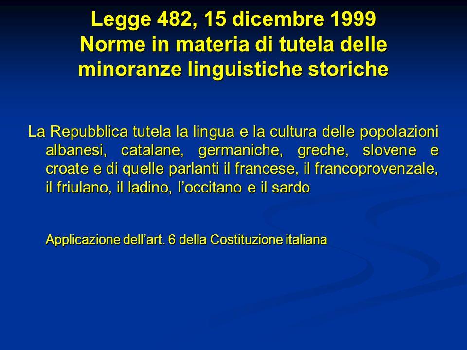 Legge 482, 15 dicembre 1999 Norme in materia di tutela delle minoranze linguistiche storiche La Repubblica tutela la lingua e la cultura delle popolaz