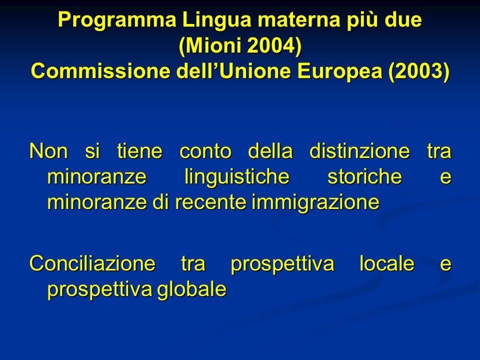 Programma Lingua materna più due (Mioni 2004) Commissione dellUnione Europea (2003) Non si tiene conto della distinzione tra minoranze linguistiche st