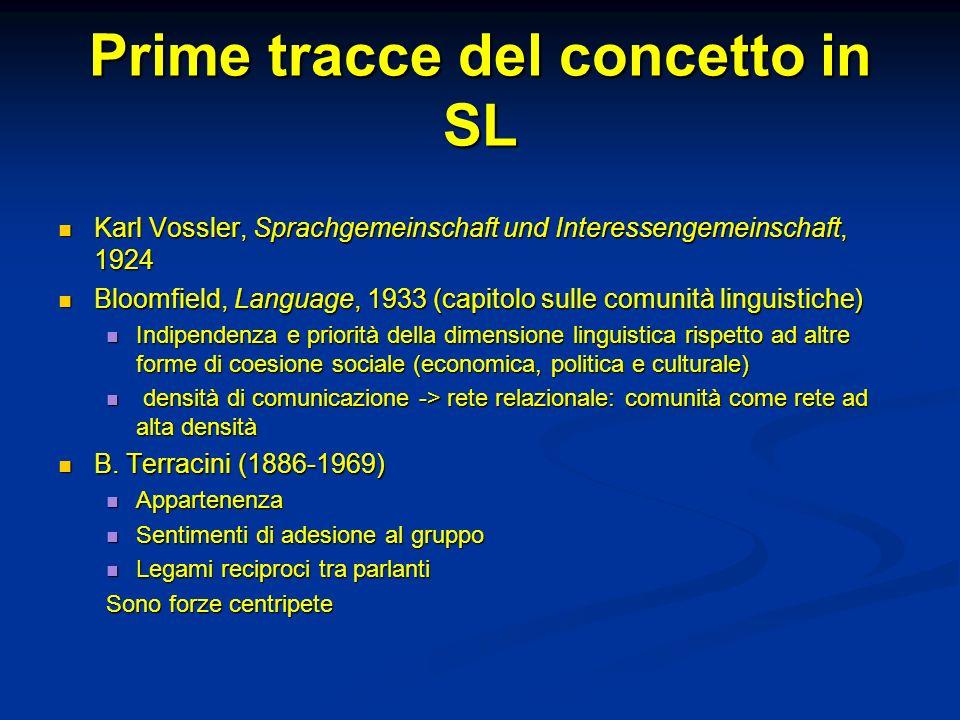 Prime tracce del concetto in SL Karl Vossler, Sprachgemeinschaft und Interessengemeinschaft, 1924 Karl Vossler, Sprachgemeinschaft und Interessengemei
