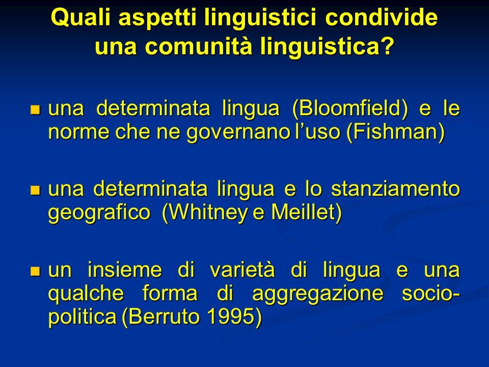 Quali aspetti linguistici condivide una comunità linguistica? una determinata lingua (Bloomfield) e le norme che ne governano luso (Fishman) una deter