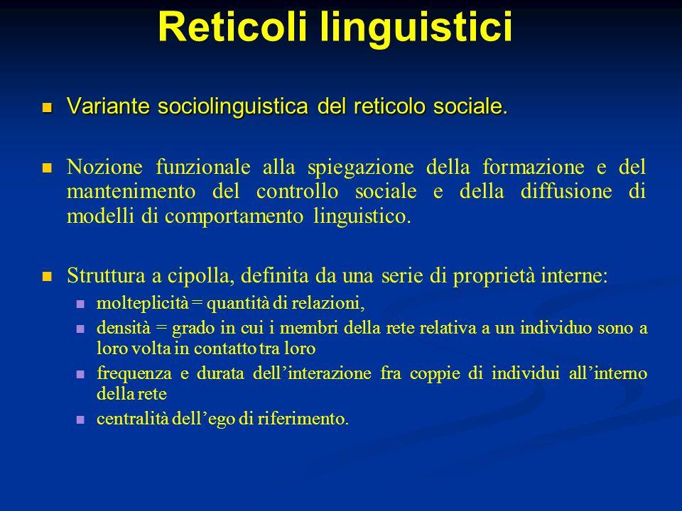 Reticoli linguistici Variante sociolinguistica del reticolo sociale. Variante sociolinguistica del reticolo sociale. Nozione funzionale alla spiegazio