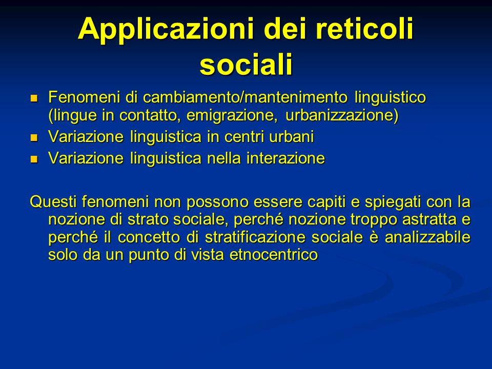 Applicazioni dei reticoli sociali Fenomeni di cambiamento/mantenimento linguistico (lingue in contatto, emigrazione, urbanizzazione) Fenomeni di cambi