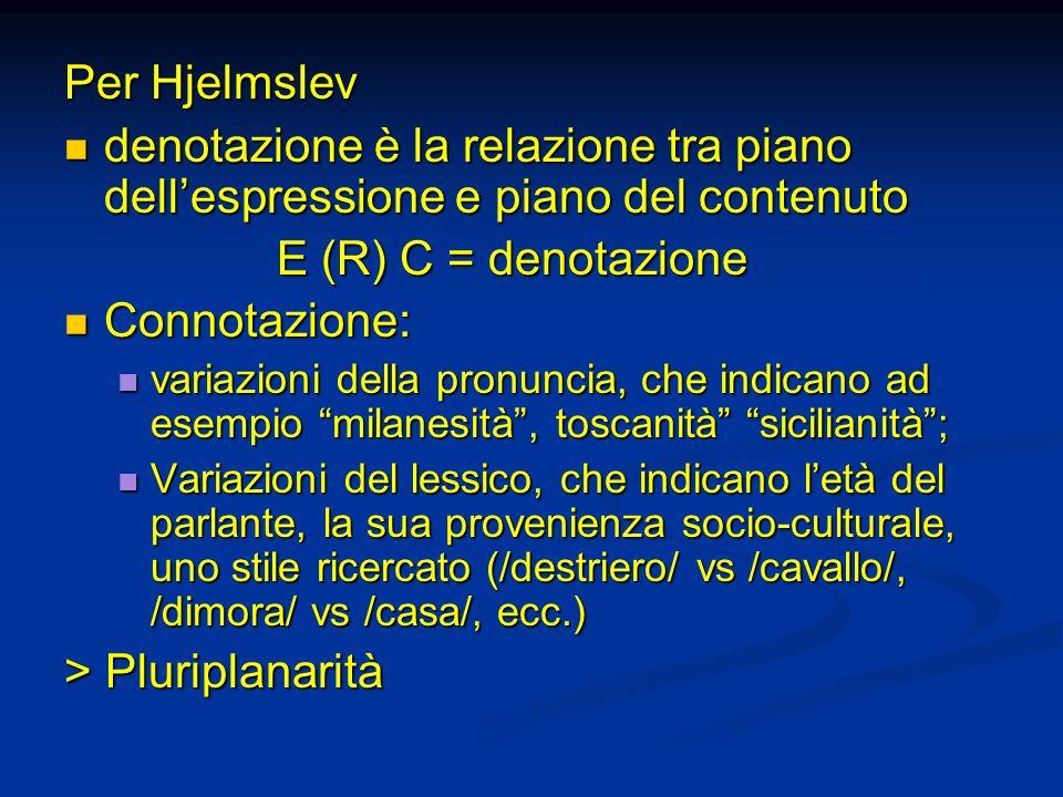 Per Hjelmslev denotazione è la relazione tra piano dellespressione e piano del contenuto denotazione è la relazione tra piano dellespressione e piano