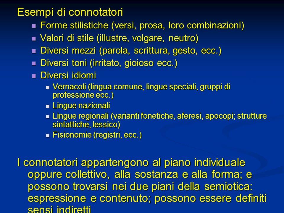 Esempi di connotatori Forme stilistiche (versi, prosa, loro combinazioni) Forme stilistiche (versi, prosa, loro combinazioni) Valori di stile (illustr