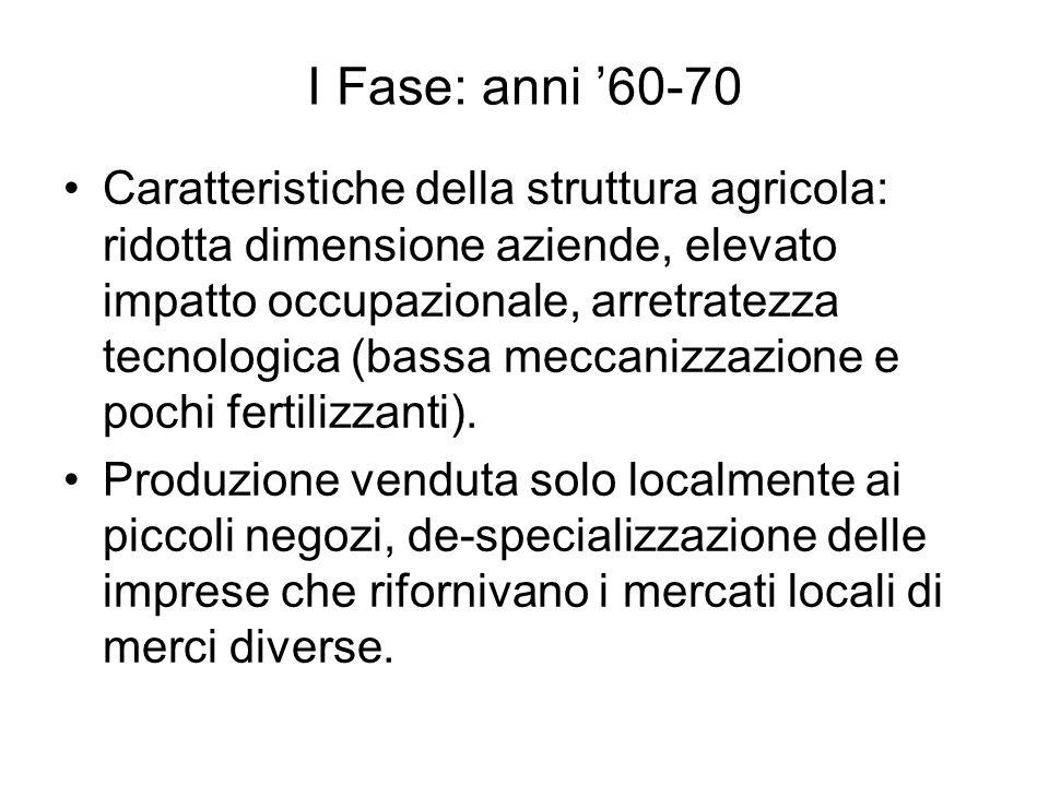 I Fase: anni 60-70 Negli anni 60 la riduzione dei costi di trasporto aumenta il commercio tra i membri CEE e si cerca di attuare con la PAC unarea di libero scambio dei prodotti agricoli in modo da sfruttare le specializzazioni nazionali.