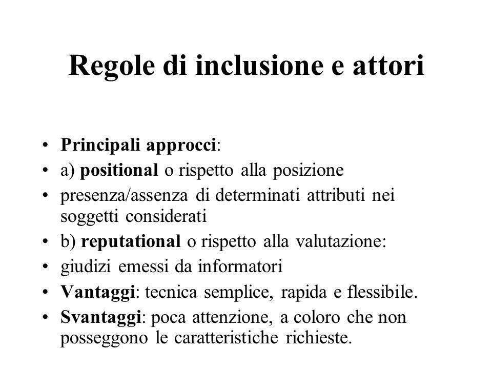 Regole di inclusione e attori Principali approcci: a) positional o rispetto alla posizione presenza/assenza di determinati attributi nei soggetti cons