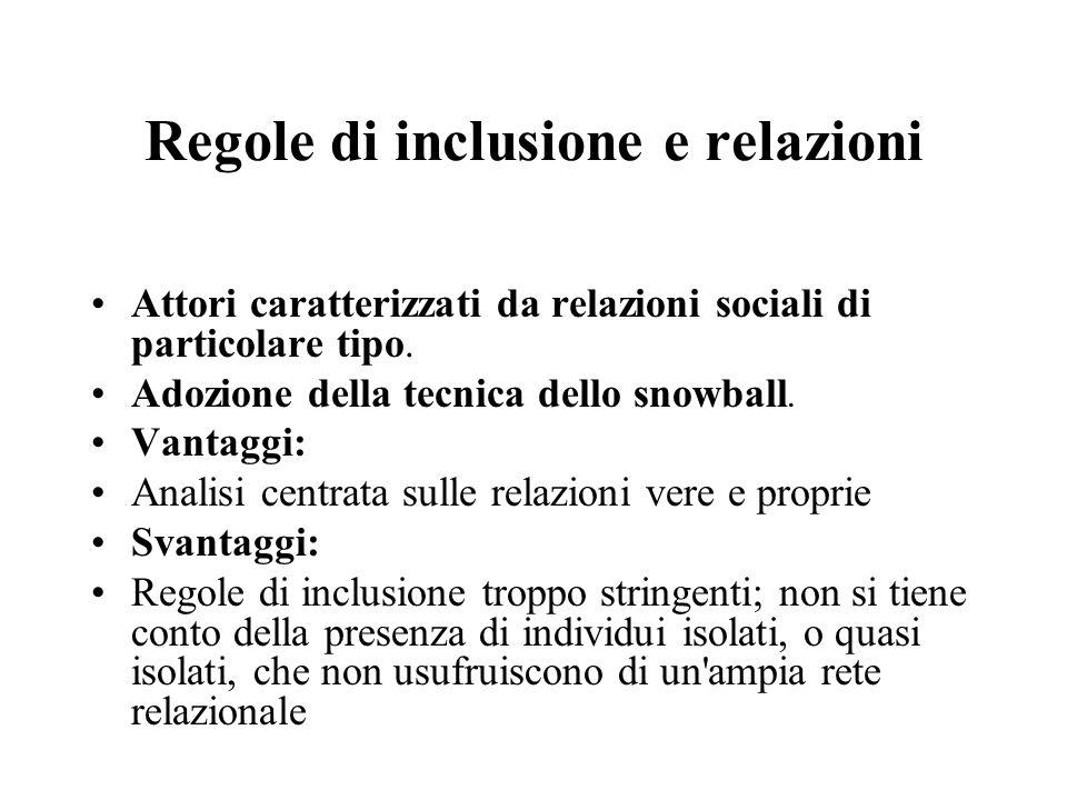 Regole di inclusione e relazioni Attori caratterizzati da relazioni sociali di particolare tipo. Adozione della tecnica dello snowball. Vantaggi: Anal