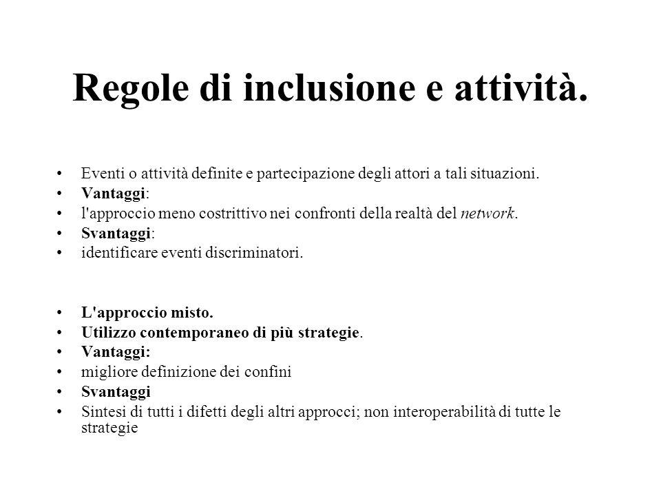 Regole di inclusione e attività. Eventi o attività definite e partecipazione degli attori a tali situazioni. Vantaggi: l'approccio meno costrittivo ne