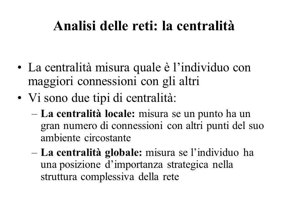 Analisi delle reti: la centralità La centralità misura quale è lindividuo con maggiori connessioni con gli altri Vi sono due tipi di centralità: –La c