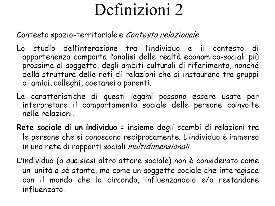Definizioni 2 Contesto spazio-territoriale e Contesto relazionale Lo studio dellinterazione tra lindividuo e il contesto di appartenenza comporta lana