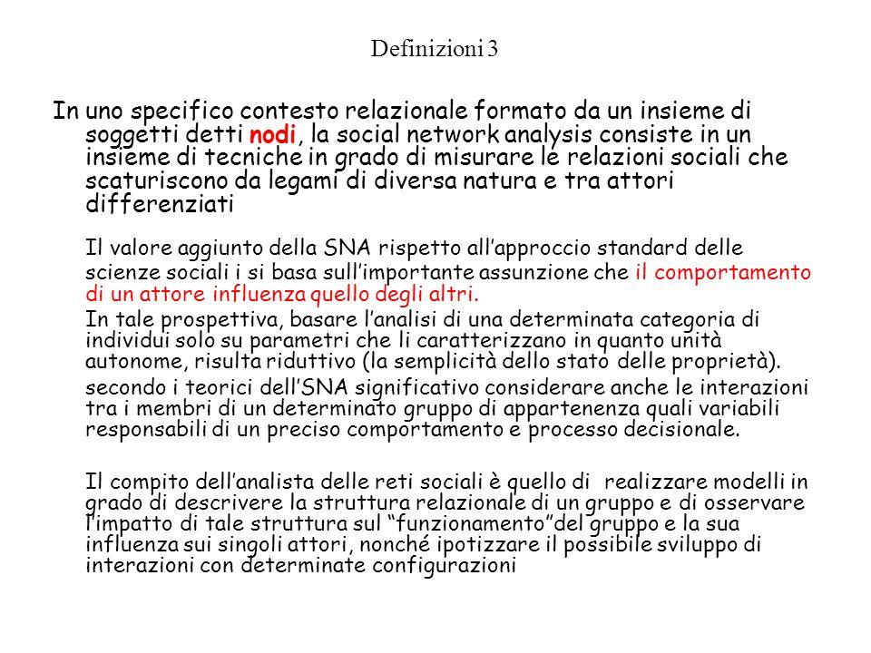Definizioni 3 In uno specifico contesto relazionale formato da un insieme di soggetti detti nodi, la social network analysis consiste in un insieme di
