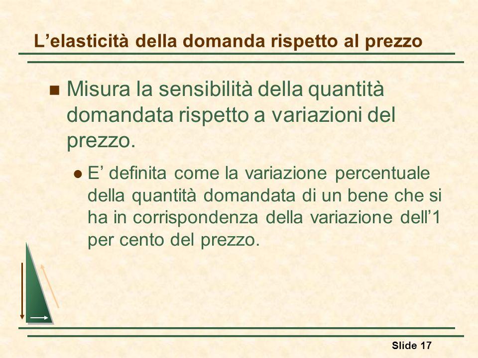 Slide 17 Lelasticità della domanda rispetto al prezzo Misura la sensibilità della quantità domandata rispetto a variazioni del prezzo. E definita come