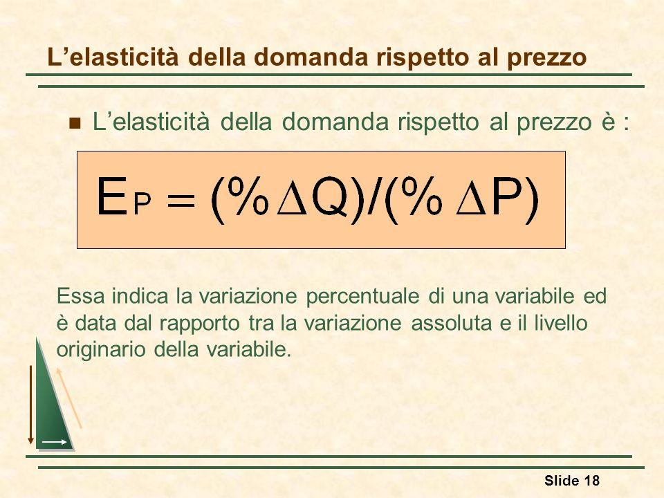 Slide 18 Lelasticità della domanda rispetto al prezzo Lelasticità della domanda rispetto al prezzo è : Essa indica la variazione percentuale di una va
