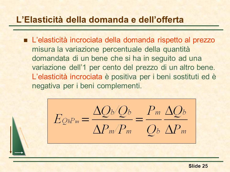 Slide 25 LElasticità della domanda e dellofferta Lelasticità incrociata della domanda rispetto al prezzo misura la variazione percentuale della quanti
