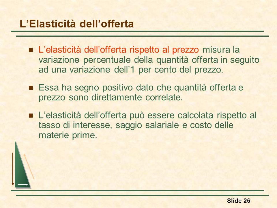 Slide 26 LElasticità dellofferta Lelasticità dellofferta rispetto al prezzo misura la variazione percentuale della quantità offerta in seguito ad una