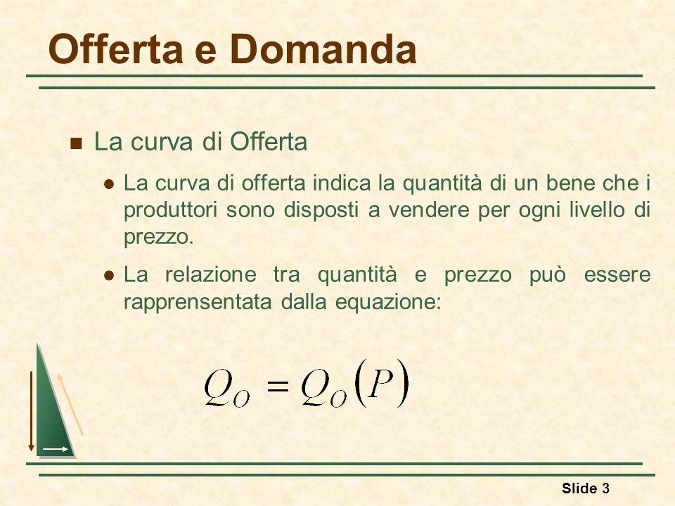 Slide 3 Offerta e Domanda La curva di Offerta La curva di offerta indica la quantità di un bene che i produttori sono disposti a vendere per ogni live