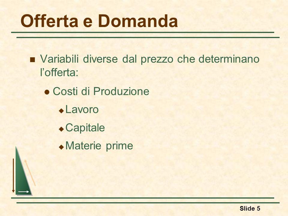 Slide 5 Offerta e Domanda Variabili diverse dal prezzo che determinano lofferta: Costi di Produzione Lavoro Capitale Materie prime