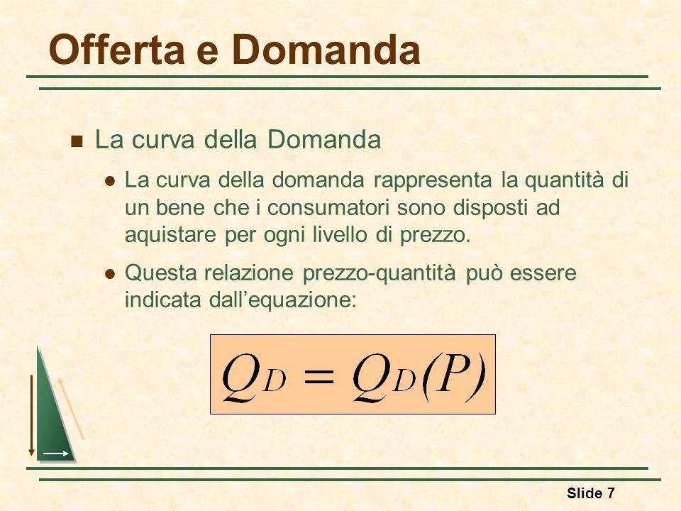 Slide 7 Offerta e Domanda La curva della Domanda La curva della domanda rappresenta la quantità di un bene che i consumatori sono disposti ad aquistar