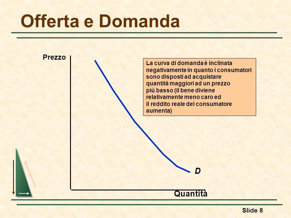 Slide 8 Offerta e Domanda D La curva di domanda è inclinata negativamente in quanto i consumatori sono disposti ad acquistare quantità maggiori ad un