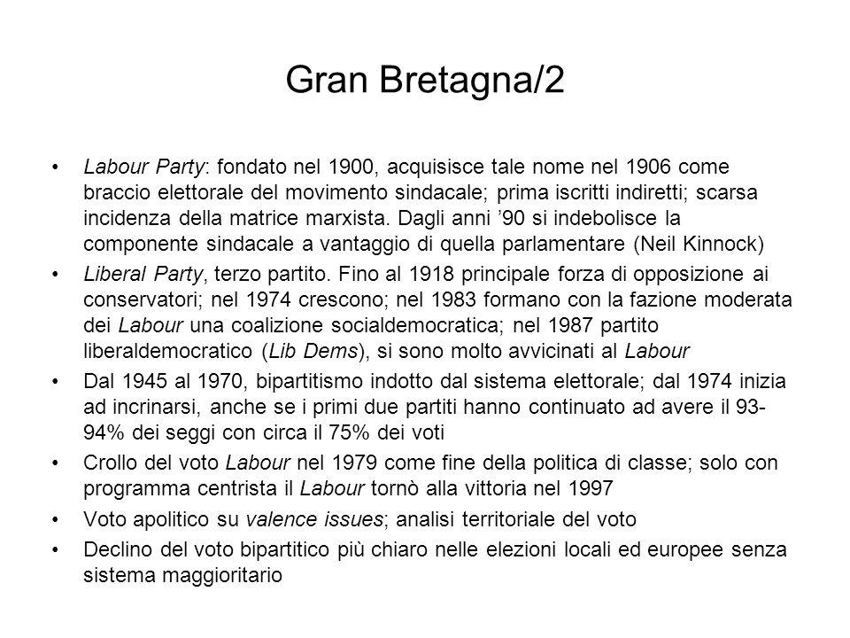 Gran Bretagna/2 Labour Party: fondato nel 1900, acquisisce tale nome nel 1906 come braccio elettorale del movimento sindacale; prima iscritti indirett
