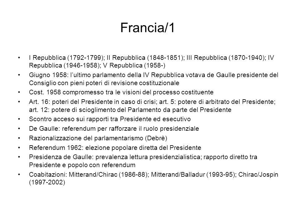 Francia/1 I Repubblica (1792-1799); II Repubblica (1848-1851); III Repubblica (1870-1940); IV Repubblica (1946-1958); V Repubblica (1958-) Giugno 1958