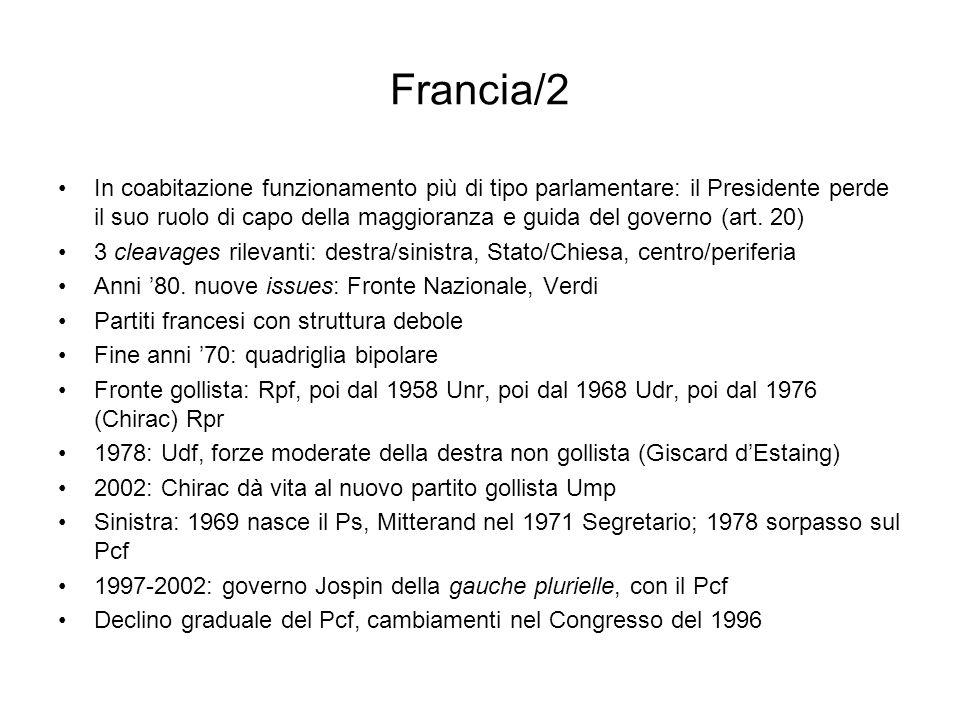 Francia/2 In coabitazione funzionamento più di tipo parlamentare: il Presidente perde il suo ruolo di capo della maggioranza e guida del governo (art.