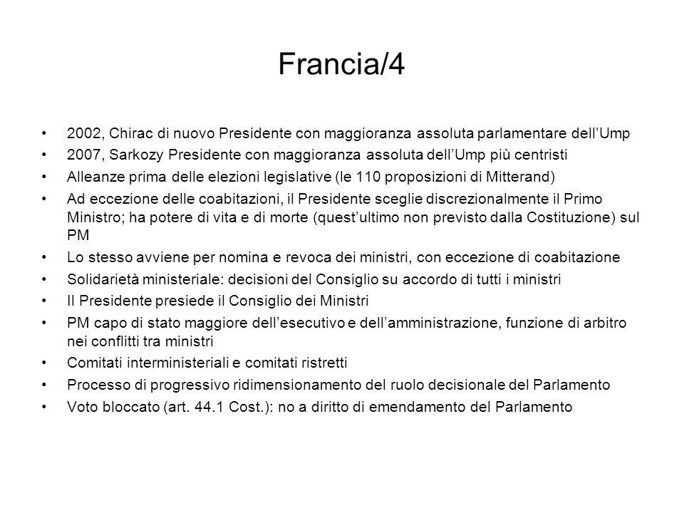 Francia/4 2002, Chirac di nuovo Presidente con maggioranza assoluta parlamentare dellUmp 2007, Sarkozy Presidente con maggioranza assoluta dellUmp più
