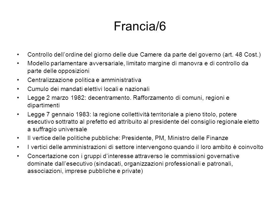 Francia/6 Controllo dellordine del giorno delle due Camere da parte del governo (art. 48 Cost.) Modello parlamentare avversariale, limitato margine di