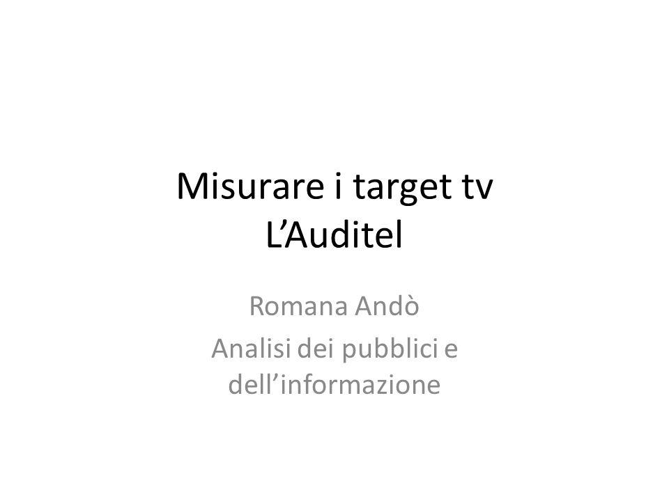 Dal 1984 nasce lAUDITEL, per la rilevazione elettronica oggettiva e imparziale degli indici di ascolto televisivi: Fanno parte dellAuditel, – la Rai (33%) – i networks commerciali e le TV private (33%) – gli utenti di pubblicità (UPA) le associazioni delle agenzie pubblicitarie (ASSAP,OTEP,AMA) (33%) – la Federazione italiana editori giornali (FIEG) (1%).