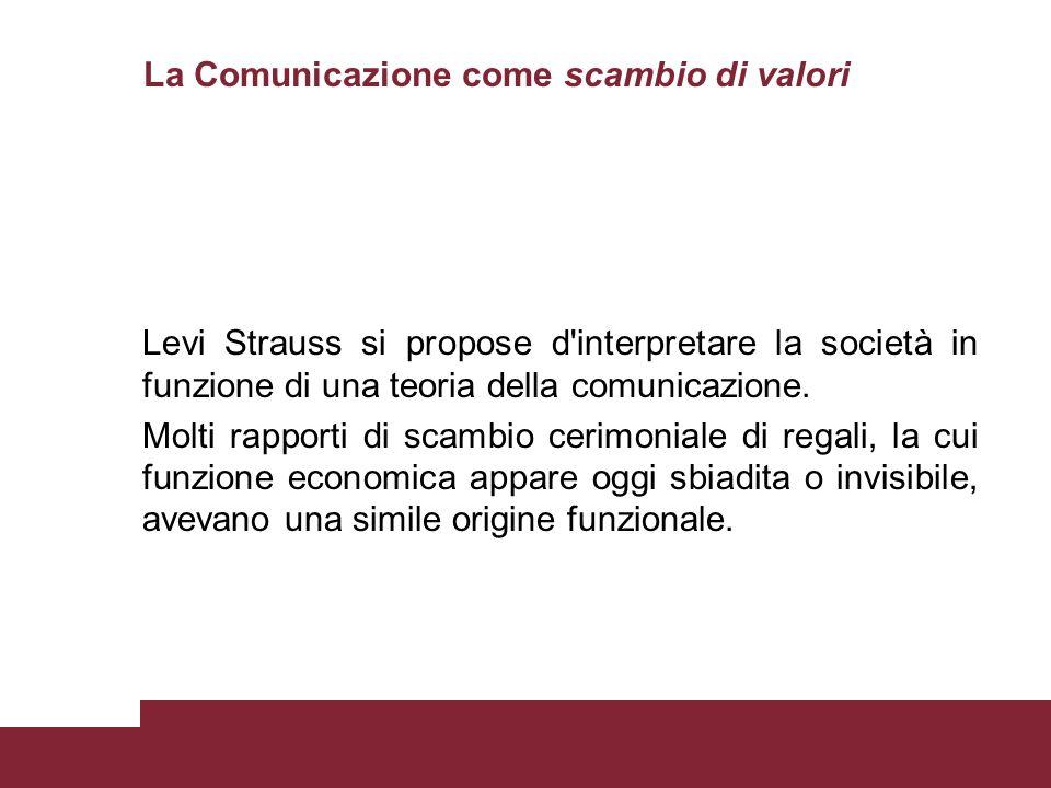 Levi Strauss si propose d'interpretare la società in funzione di una teoria della comunicazione. Molti rapporti di scambio cerimoniale di regali, la c