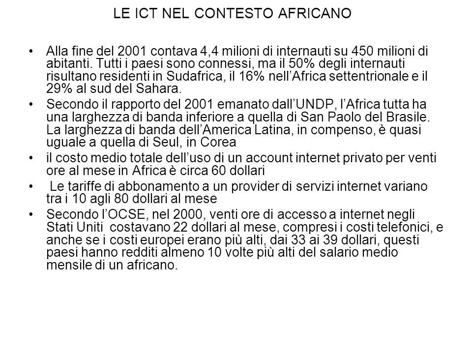 LE ICT NEL CONTESTO AFRICANO Alla fine del 2001 contava 4,4 milioni di internauti su 450 milioni di abitanti.