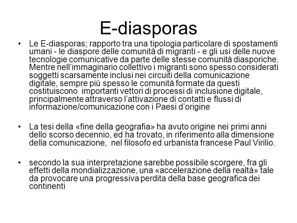 E-diasporas Le E-diasporas; rapporto tra una tipologia particolare di spostamenti umani - le diaspore delle comunità di migranti - e gli usi delle nuove tecnologie comunicative da parte delle stesse comunità diasporiche.