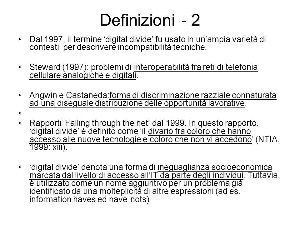 Definizioni - 2 Dal 1997, il termine digital divide fu usato in unampia varietà di contesti per descrivere incompatibilità tecniche.