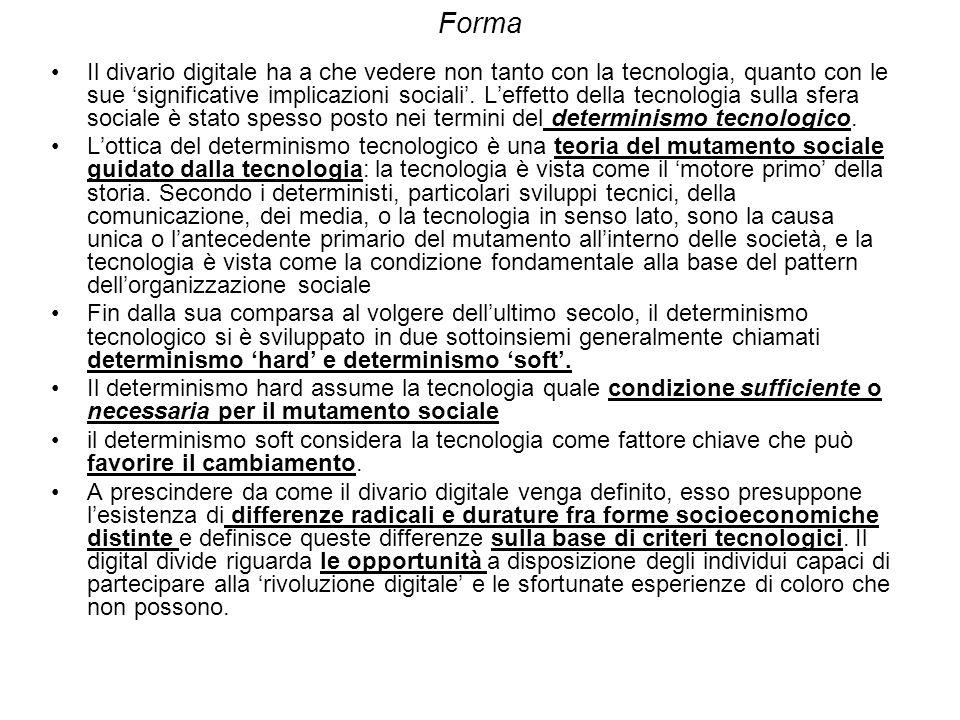 Forma Il divario digitale ha a che vedere non tanto con la tecnologia, quanto con le sue significative implicazioni sociali.